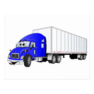 Semi Truck Blue White Trailer Cartoon Postcard