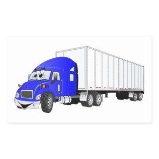Semi Truck Blue White Trailer Cartoon Rectangular Sticker
