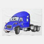 Semi Truck Cab Blue Hand Towels