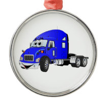 Semi Truck Cab Blue Metal Ornament