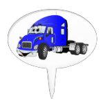 Semi Truck Cab Blue Oval Cake Topper