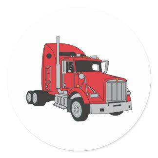 Semi Truck Cab Classic Round Sticker