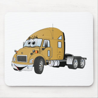 Semi Truck Cab Gold Mouse Pad