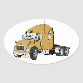 Semi Truck Cab Gold Oval Sticker