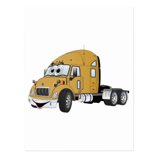 Semi Truck Cab Gold Postcard