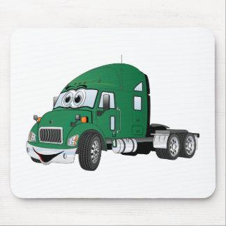 Semi Truck Cab Green Mouse Pad