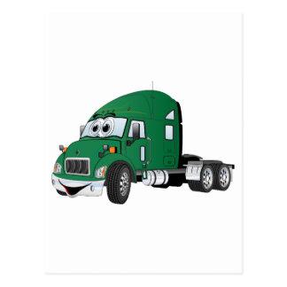 Semi Truck Cab Green Postcards