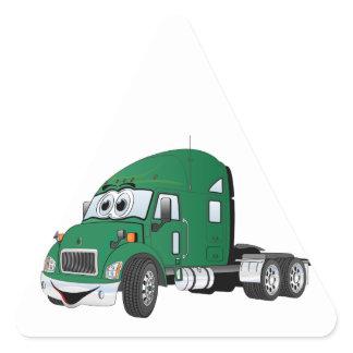 Semi Truck Cab Green Triangle Sticker