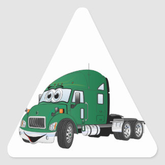 Semi Truck Cab Green Triangle Sticker