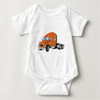 Semi Truck Cab Orange Baby Bodysuit
