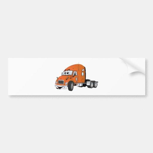 Semi Truck Cab Orange Bumper Stickers