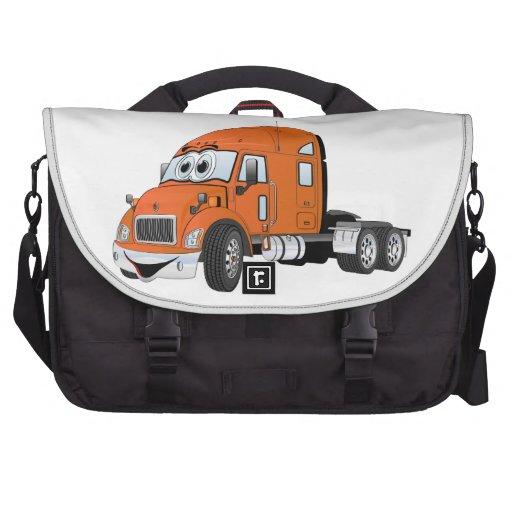 Semi Truck Cab Orange Laptop Bags