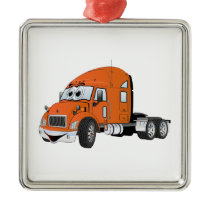 Semi Truck Cab Orange Metal Ornament