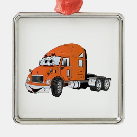 Semi Truck Cab Orange Metal Ornament