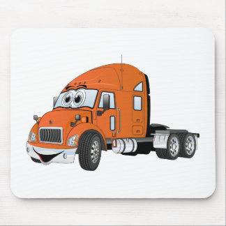 Semi Truck Cab Orange Mouse Pads