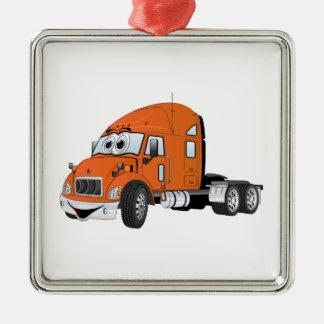 Semi Truck Cab Orange Christmas Tree Ornament