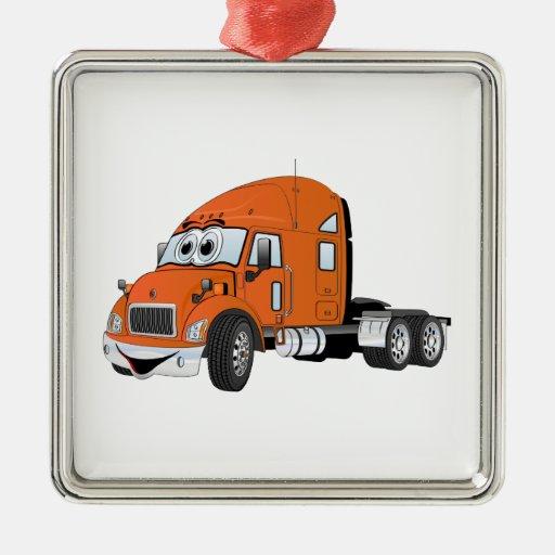Semi Truck Cab Orange Square Metal Christmas Ornament