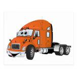 Semi Truck Cab Orange Post Cards