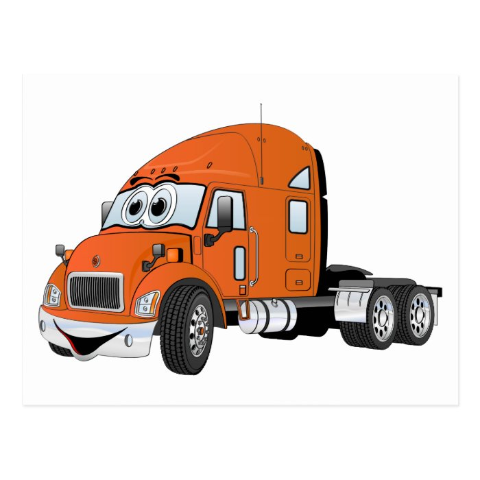 Semi Truck Cab Orange Post Cards