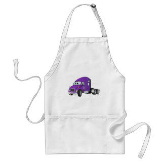 Semi Truck Cab Purple Adult Apron