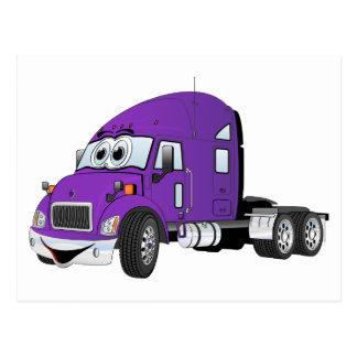 Semi Truck Cab Purple Post Cards