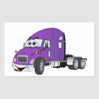 Semi Truck Cab Purple Rectangular Sticker