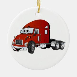 Semi Truck Cab Red Christmas Ornament