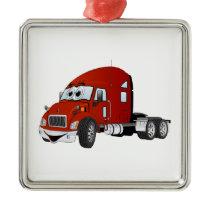 Semi Truck Cab Red Metal Ornament