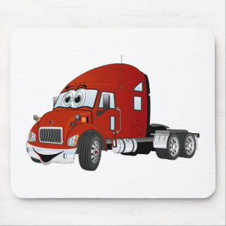 Semi Truck Cab Red Mouse Pad