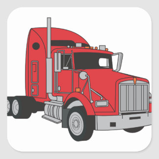 Semi Truck Cab Square Sticker