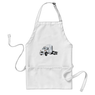 Semi Truck Cab White Adult Apron