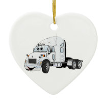 Semi Truck Cab White Ceramic Ornament