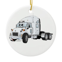 Semi Truck Cab White Ceramic Ornament