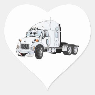 Semi Truck Cab White Heart Sticker