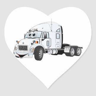 Semi Truck Cab White Heart Sticker