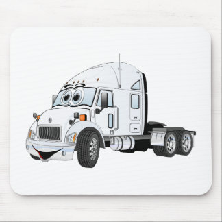 Semi Truck Cab White Mouse Pad