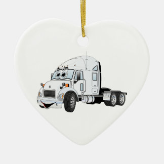 Semi Truck Cab White Christmas Ornaments