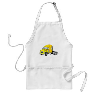 Semi Truck Cab Yellow Adult Apron