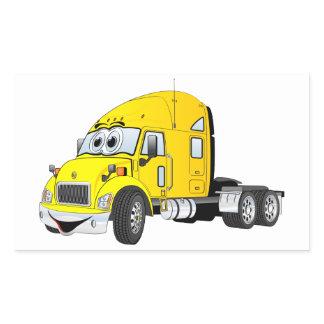 Semi Truck Cab Yellow Rectangular Sticker