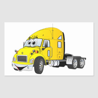 Semi Truck Cab Yellow Rectangular Sticker