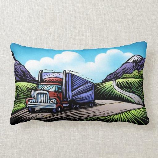 Semi truck driver scenic decorative pillow Zazzle