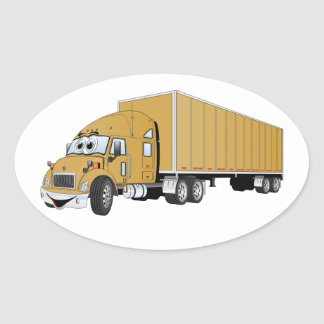 Semi Truck Gold Trailer Cartoon Oval Sticker
