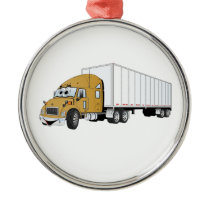 Semi Truck Gold White Trailer Cartoon Metal Ornament