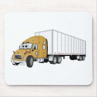 Semi Truck Gold White Trailer Cartoon Mouse Pad