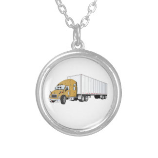 Semi Truck Gold White Trailer Cartoon Silver Plated Necklace