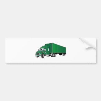 Semi Truck Green Trailer Cartoon Bumper Sticker