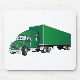 Semi Truck Green Trailer Cartoon Mouse Pad
