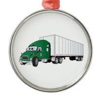 Semi Truck Green White Trailer Cartoon Metal Ornament