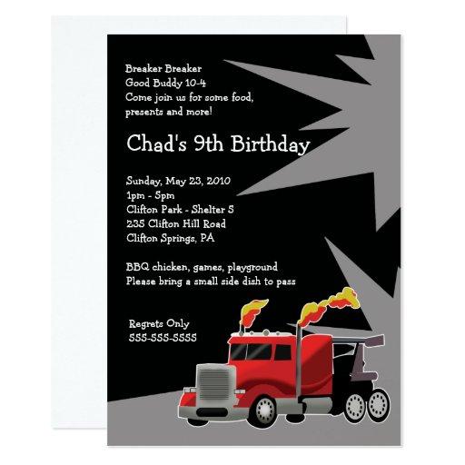 SEMI TRUCK Hot Rod Boys Birthday Invitation