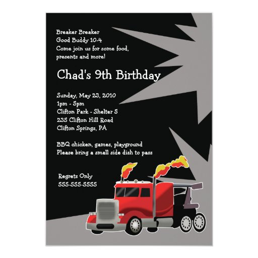 SEMI TRUCK Hot Rod Boys Birthday Invitation